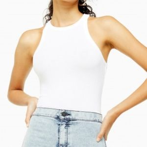 Topshop white ribbed high neck crop tank top white